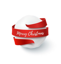 Merry christmas snow ball with red bow and ribbon vector