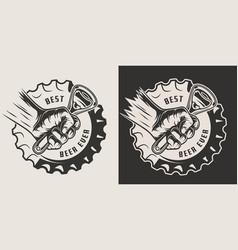Monochrome brewery vintage print vector