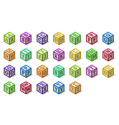 Multicolored alphabet or abc blocks in isometric vector