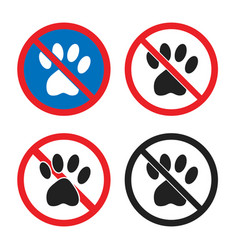 no pets allowed sign animal prohobition icon set vector image
