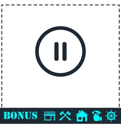 Pause button icon flat vector