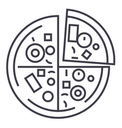 pizza line icon sign on vector image