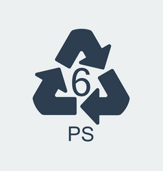 Plastic recycling symbol ps 6wrapping plastic vector