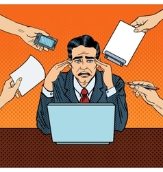 Pop art stressed businessman at multitasking work vector
