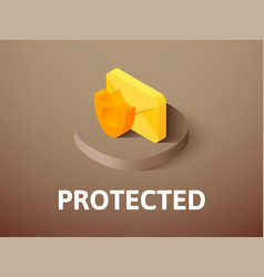 Protected isometric icon isolated on color vector