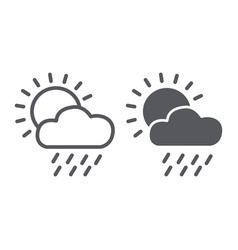 rain line and glyph icon day and sky weather vector image