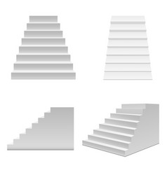 Realistic template blank white staircase or stairs vector