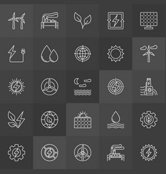 Renewable energy resources icons vector