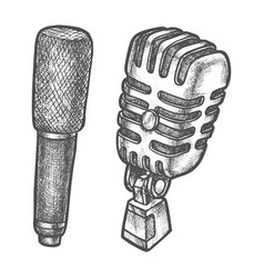 retro and modern microphone sketch vector image