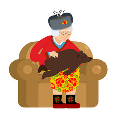 russian grandmother and bear are your pets old vector image
