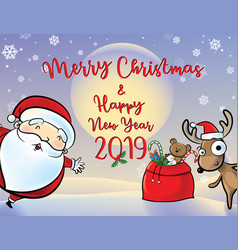 santa and reindeer give gifts red bag vector image