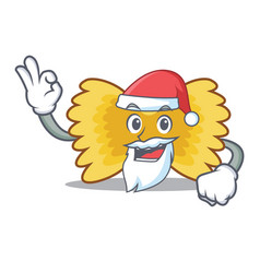 Santa farfalle pasta mascot cartoon vector
