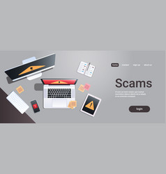 scam alert internet fraud hacking scams concept vector image
