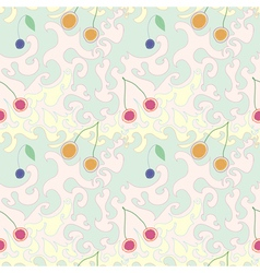 Seamless Abstract Pattern with cherries vector