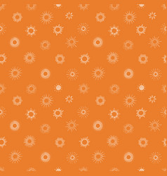 seamless background with doodle sun on orange vector image