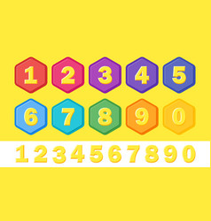 set colorful children numbers flat numbers vector image