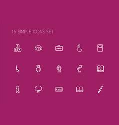 Set of 15 editable teach outline icons includes vector