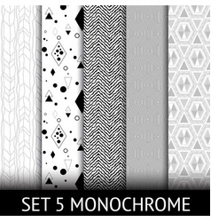 set of 5 different geometric monochrome seamless vector image