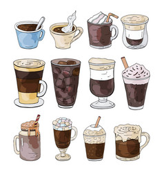 set of hand drawn different types of coffee vector image