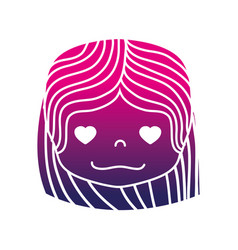 silhouette girl head with hairstyle and in love vector image