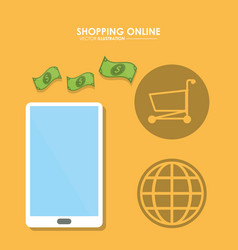 smartphone and bills icon shopping online design vector image