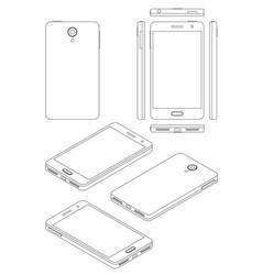 Smartphone mock-up in thin line style isometric vector