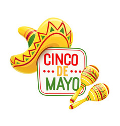 sombrero and maracas for cinco vector image