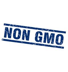 square grunge blue non gmo stamp vector image