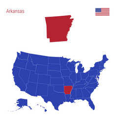 State arkansas is highlighted in red map vector