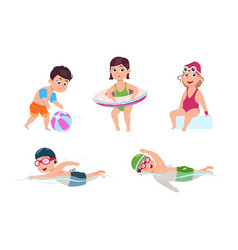 swimming children happy kids little beach girl vector image