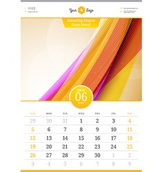 Wall calendar 2016 june template with abstract vector