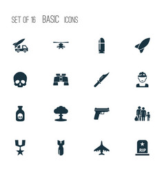 Warfare icons set collection of order missile vector