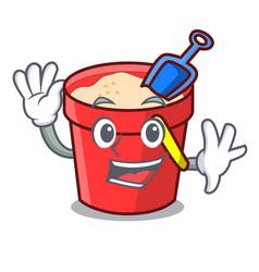 Waving sand bucket character cartoon vector
