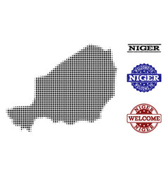 Welcome collage of halftone map of niger and vector