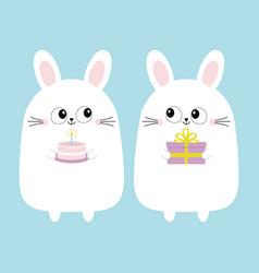 white bunny rabbit holding gift box cake funny vector image
