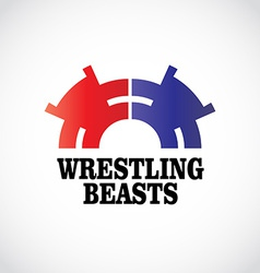 Wrestling logo template Two stomping bears vector