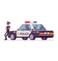 young policeman standing near car vector image