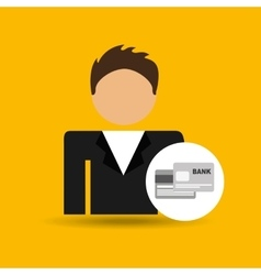 Chracter man bank cards credit card icon vector