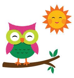 Cute owl and sun vector image