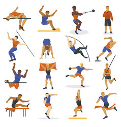 high jump athlete sport men athletics characters vector image vector image