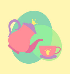 princess tea cup pot vector image