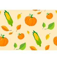Seamless pattern from autumn leaves and pumpkins vector image