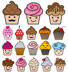 Set of cute cupcakes vector
