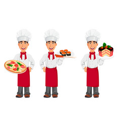 young professional chef in uniform and cook hat vector image vector image