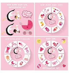 New born baby girl circle infographic set vector