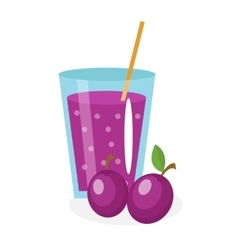 Plum juice in a glass Fresh isolated on white vector image vector image
