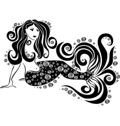 Beautiful mermaid with swirls vector
