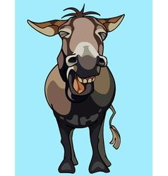 cartoon donkey neighing vector image vector image