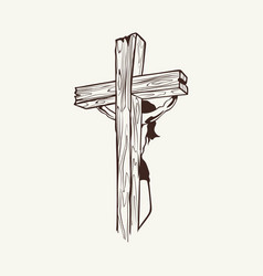 Crucified jesus christ on the cross vector