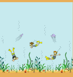 seamless border of seabed with seaweed swimmer vector image vector image